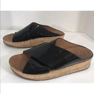 d06501b0a Fitflop Shoes - FitFlop KYS Black Patent Crisscross Sandals Sz 9